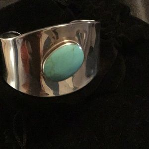 Jewelry - VINTAGE MEXICAN STERLING SILVER BOLD TURQUOIS CUFF